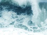 古筝《战台风》演出表演舞台修饰 大海风浪急促浪花 LED背景视频