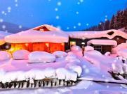 舞台剧《白毛女》舞台大屏幕动态雪山茅屋红灯笼飘雪LED背景视频